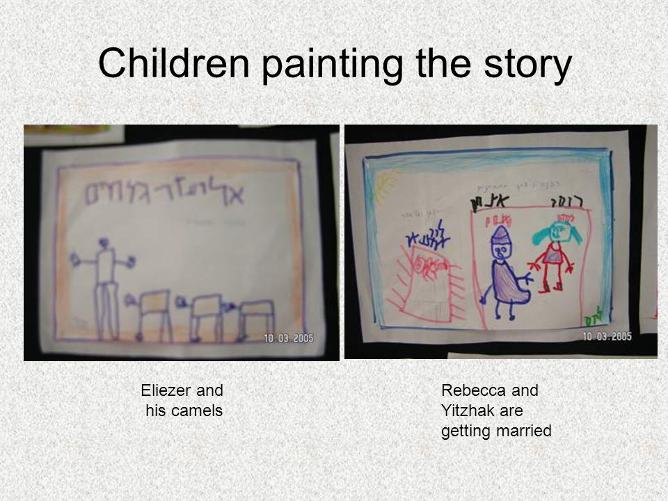 Children painting the story Eliezer and his camels Rebecca and Yitzhak are getting married