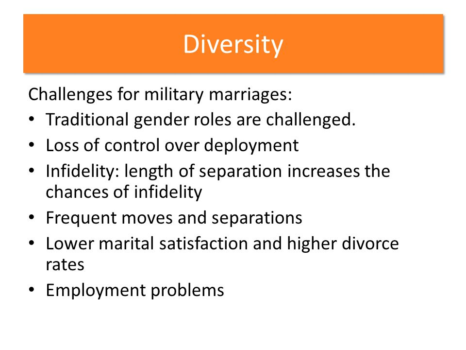 Diversity Challenges for military marriages: Traditional gender roles are challenged. Loss of control over deployment Infidelity: length of separation