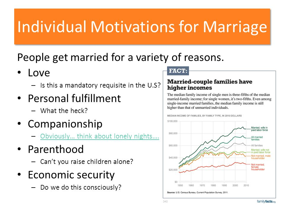 Individual Motivations for Marriage People get married for a variety of reasons. Love – Is this a mandatory requisite in the U.S? Personal fulfillment