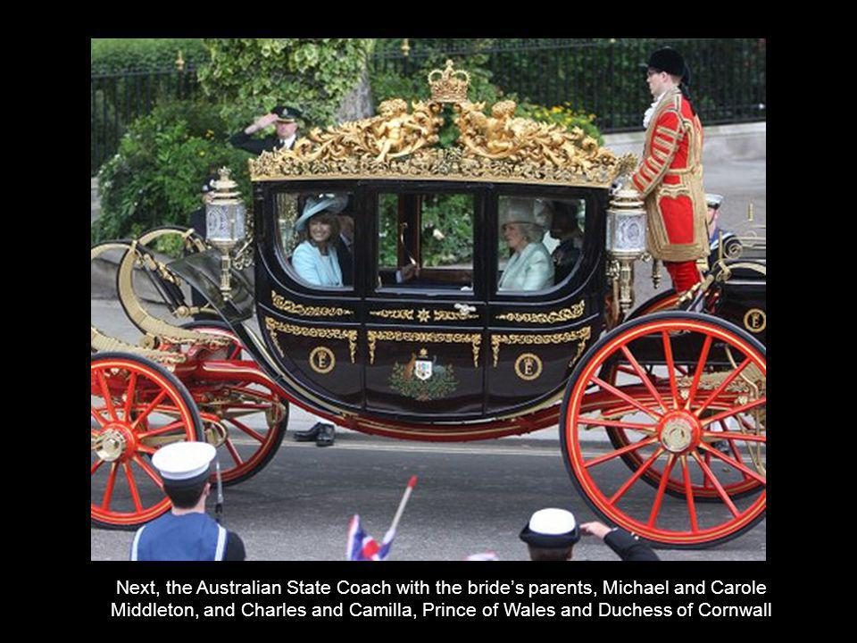 Next, the Australian State Coach with the brides parents, Michael and Carole Middleton, and Charles and Camilla, Prince of Wales and Duchess of Cornwall