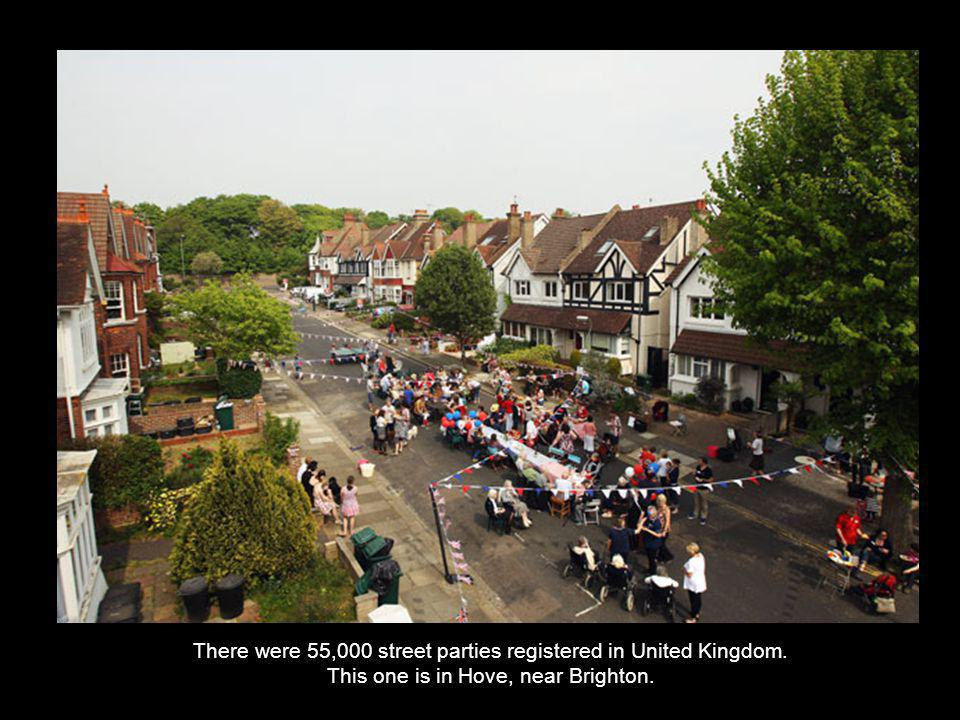 There were 55,000 street parties registered in United Kingdom. This one is in Hove, near Brighton.