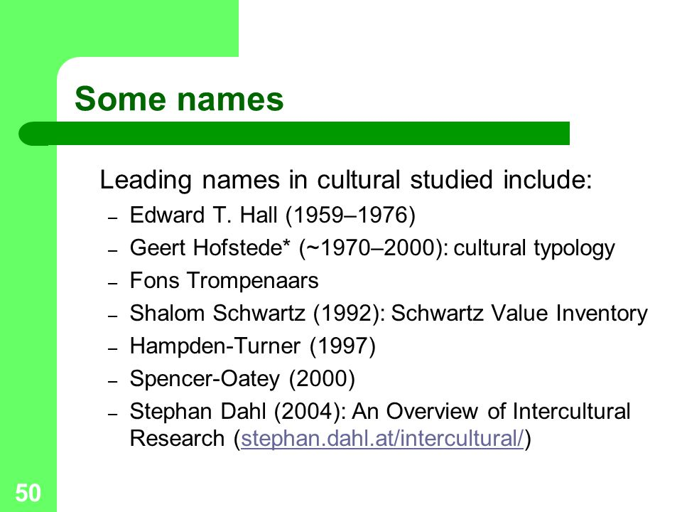 50 Some names Leading names in cultural studied include: – Edward T.