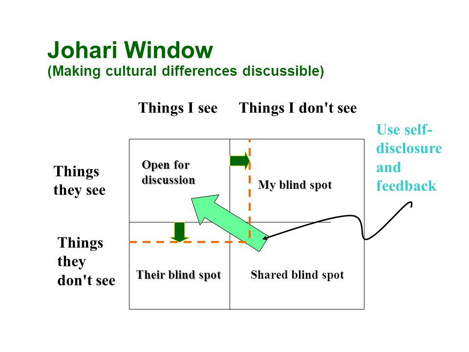 Johari Window (Making cultural differences discussible) Things I seeThings I don t see Things they see Things they don t see Open for discussion My blind spot Their blind spot Shared blind spot Use self- disclosure and feedback