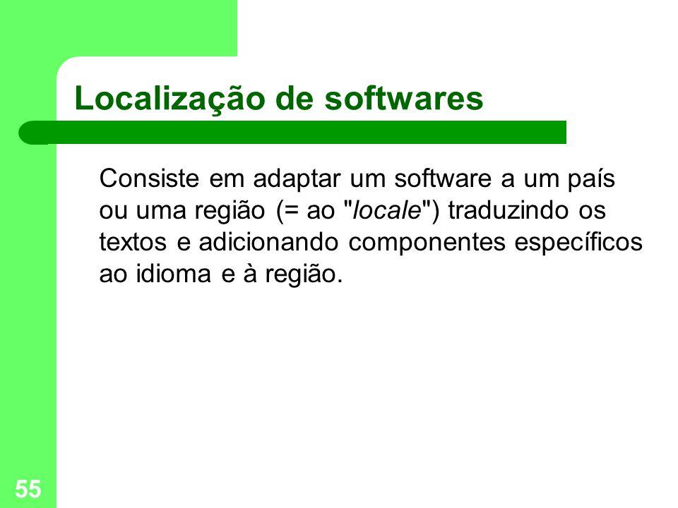 55 Localização de softwares Consiste em adaptar um software a um país ou uma região (= ao locale ) traduzindo os textos e adicionando componentes específicos ao idioma e à região.