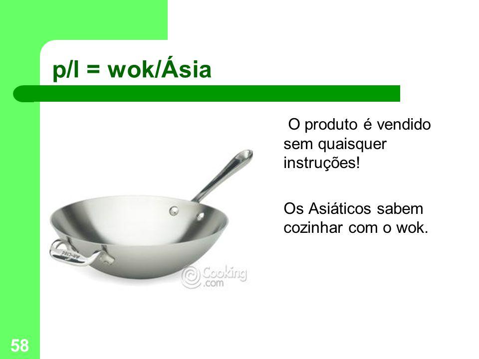 58 p/l = wok/Ásia O produto é vendido sem quaisquer instruções.