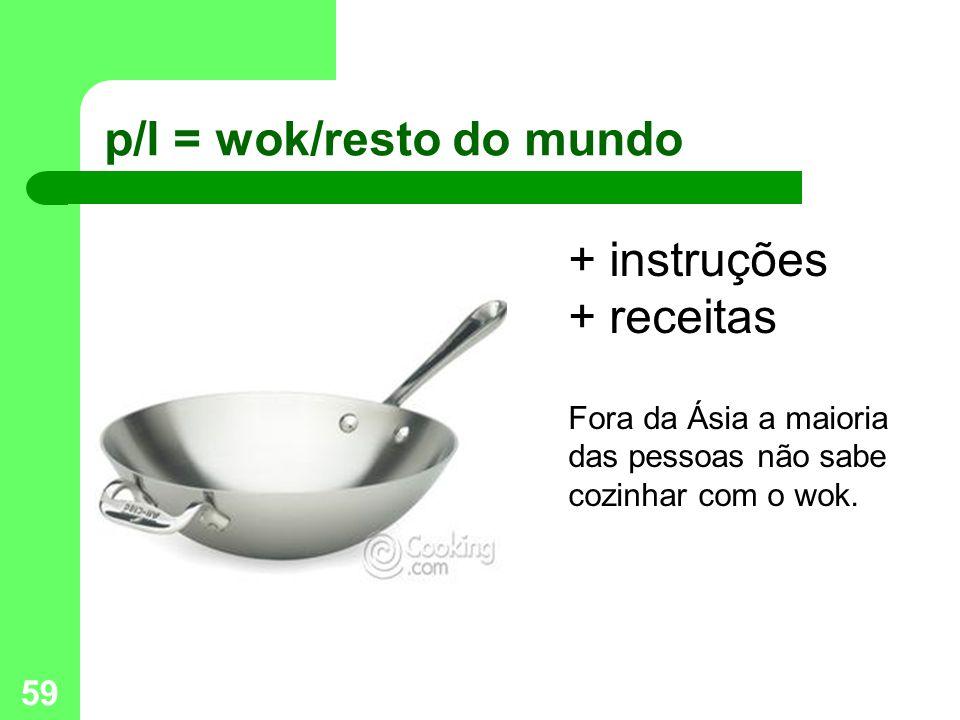 59 p/l = wok/resto do mundo + instruções + receitas Fora da Ásia a maioria das pessoas não sabe cozinhar com o wok.