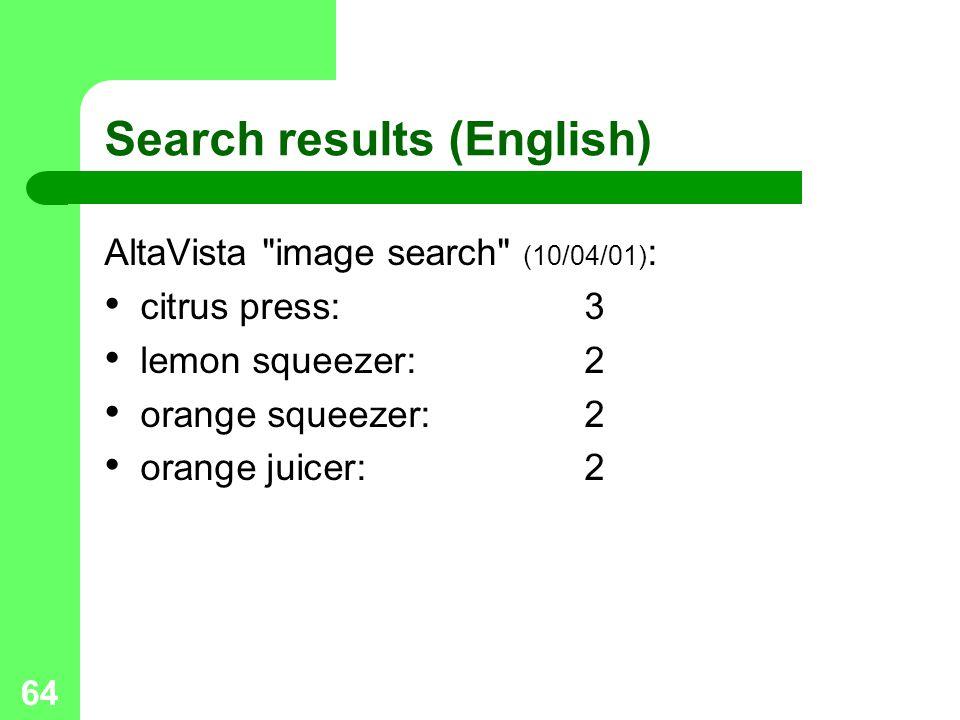 64 Search results (English) AltaVista image search (10/04/01) : citrus press:3 lemon squeezer:2 orange squeezer:2 orange juicer:2