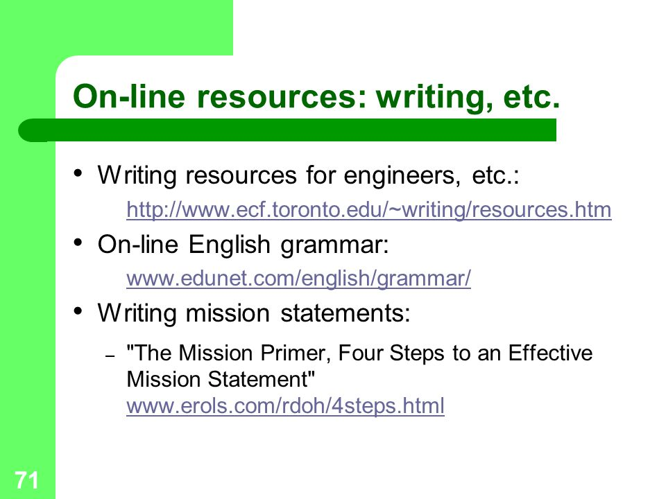 71 On-line resources: writing, etc.