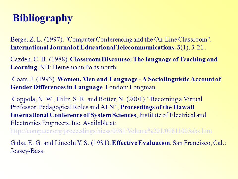 Bibliography Berge, Z. L. (1997). Computer Conferencing and the On-Line Classroom .