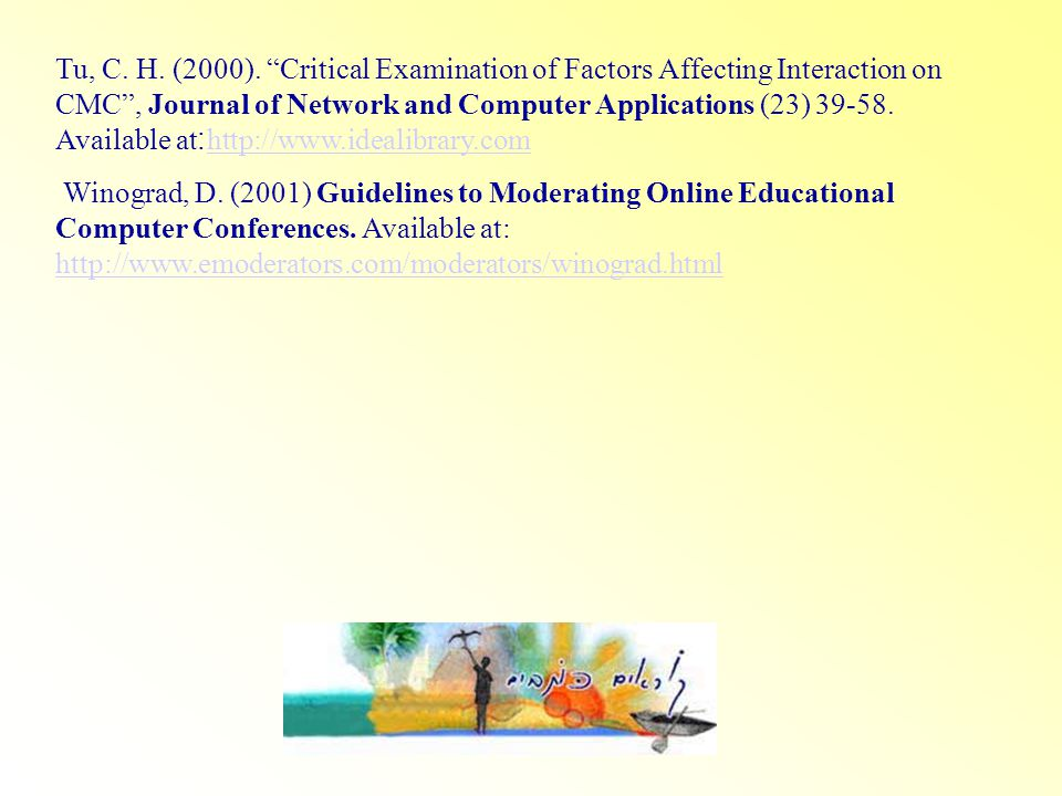 Tu, C. H. (2000). Critical Examination of Factors Affecting Interaction on CMC, Journal of Network and Computer Applications (23) 39-58. Available at: