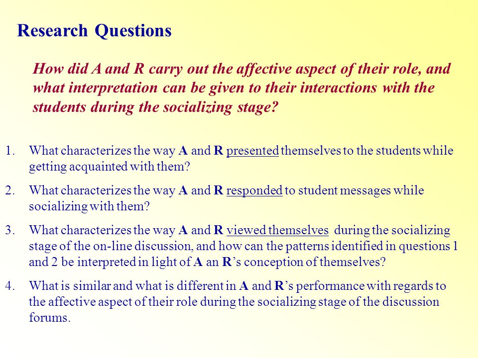 Research Questions How did A and R carry out the affective aspect of their role, and what interpretation can be given to their interactions with the students during the socializing stage.