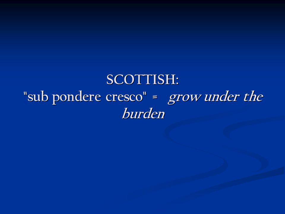 SCOTTISH: sub pondere cresco = grow under the burden