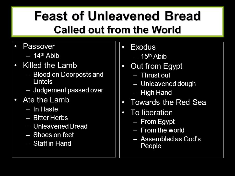 Feast of Unleavened Bread Called out from the World Passover –14 th Abib Killed the Lamb –Blood on Doorposts and Lintels –Judgement passed over Ate th