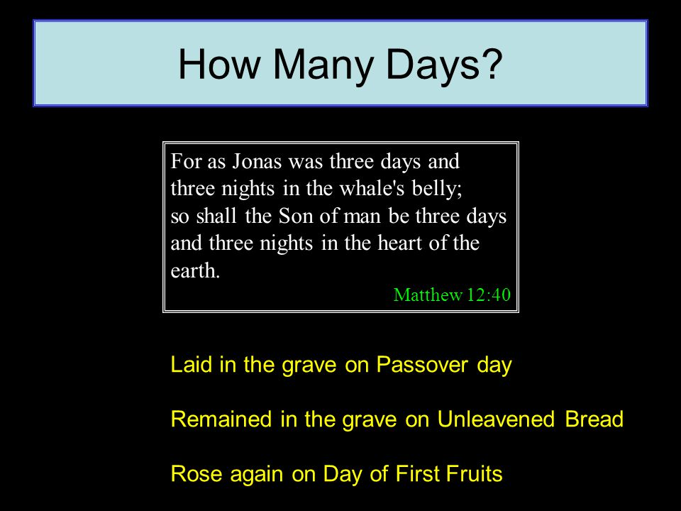 How Many Days? For as Jonas was three days and three nights in the whale's belly; so shall the Son of man be three days and three nights in the heart