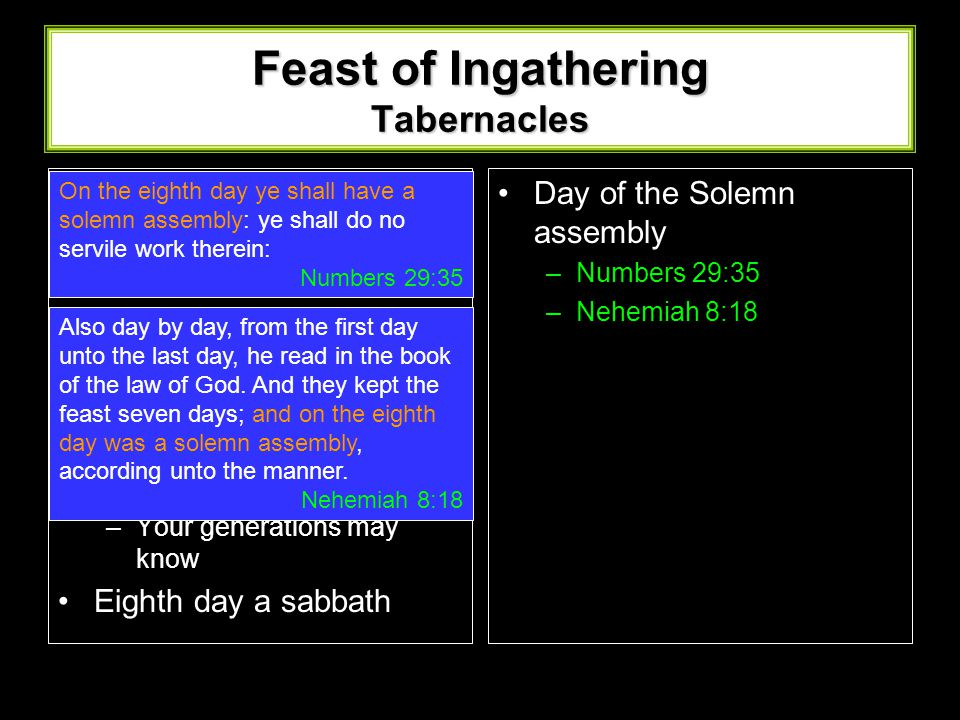 Feast of Ingathering Tabernacles First day a sabbath Rejoice before the Lord –Boughs of Goodly trees –Branches of Palm Trees –Boughs of Thick Trees –W