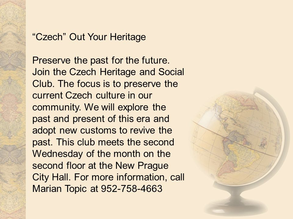 Czech Out Your Heritage Preserve the past for the future.