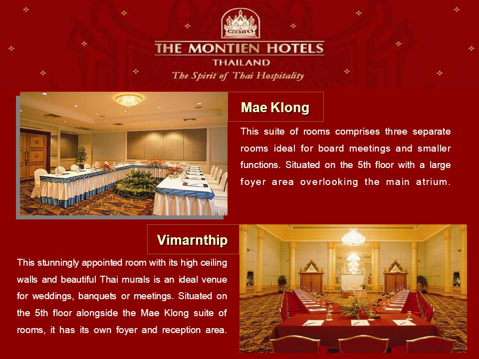 This suite of rooms comprises three separate rooms ideal for board meetings and smaller functions.