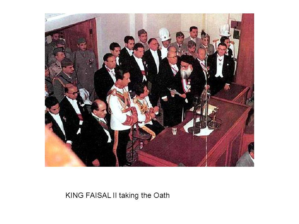 KING FAISAL II taking the Oath