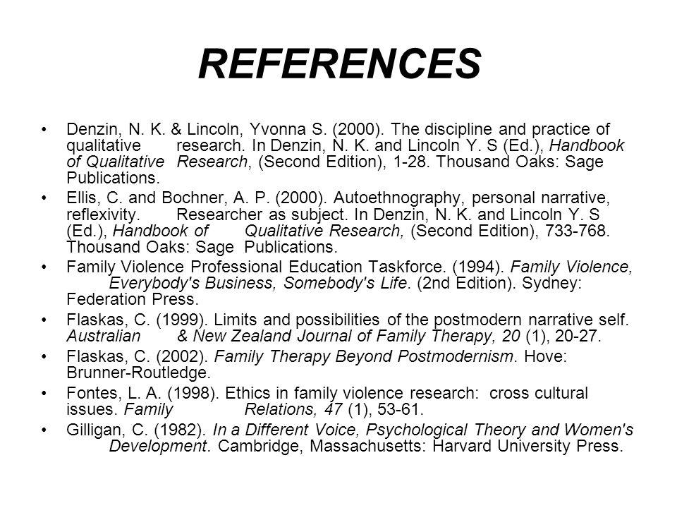 REFERENCES Denzin, N. K. & Lincoln, Yvonna S. (2000).