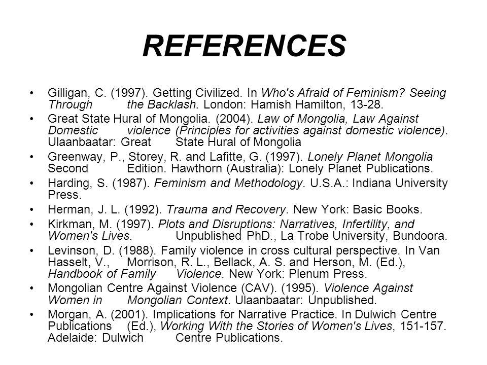 REFERENCES Morgan, R.(1984). Sisterhood is Global.