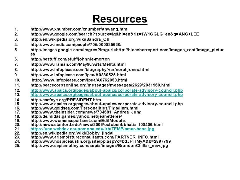 Resources 1.http://www.xnumber.com/xnumber/anwang.htm 2.http://www.google.com/search?source=ig&hl=en&rlz=1W1GGLG_en&q=ANG+LEE 3.http://en.wikipedia.or