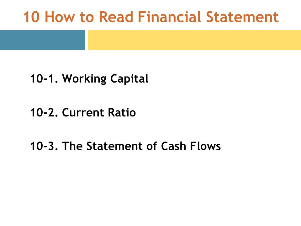 10 How to Read Financial Statement Working Capital