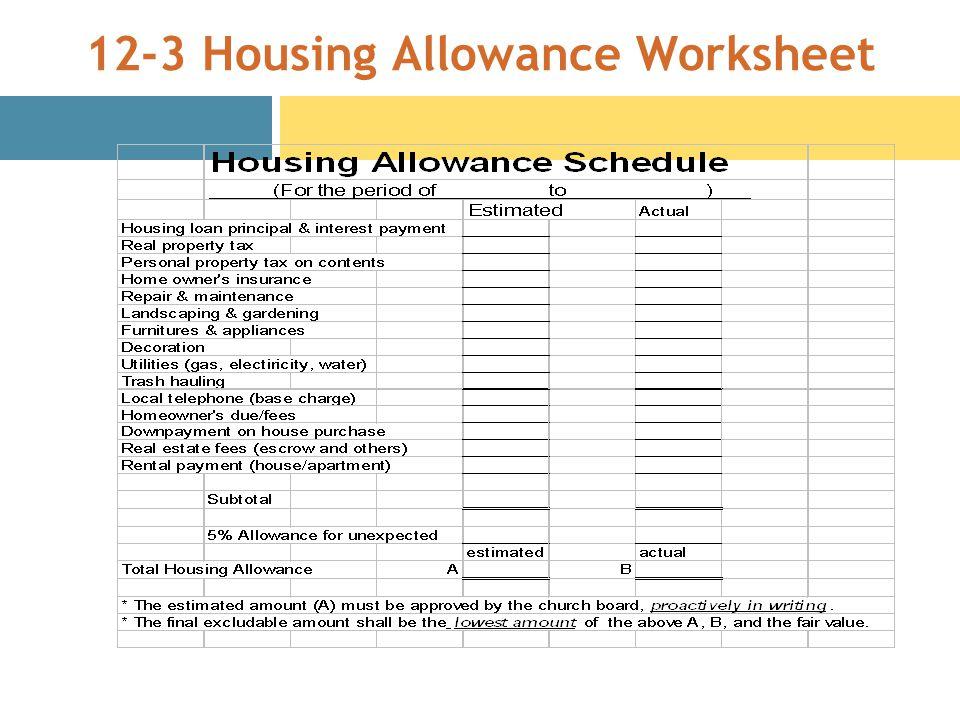 12-3 Housing Allowance Worksheet