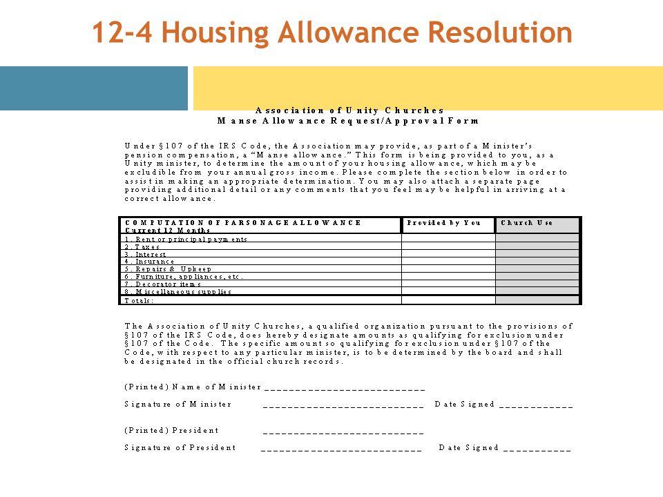 12-4 Housing Allowance Resolution