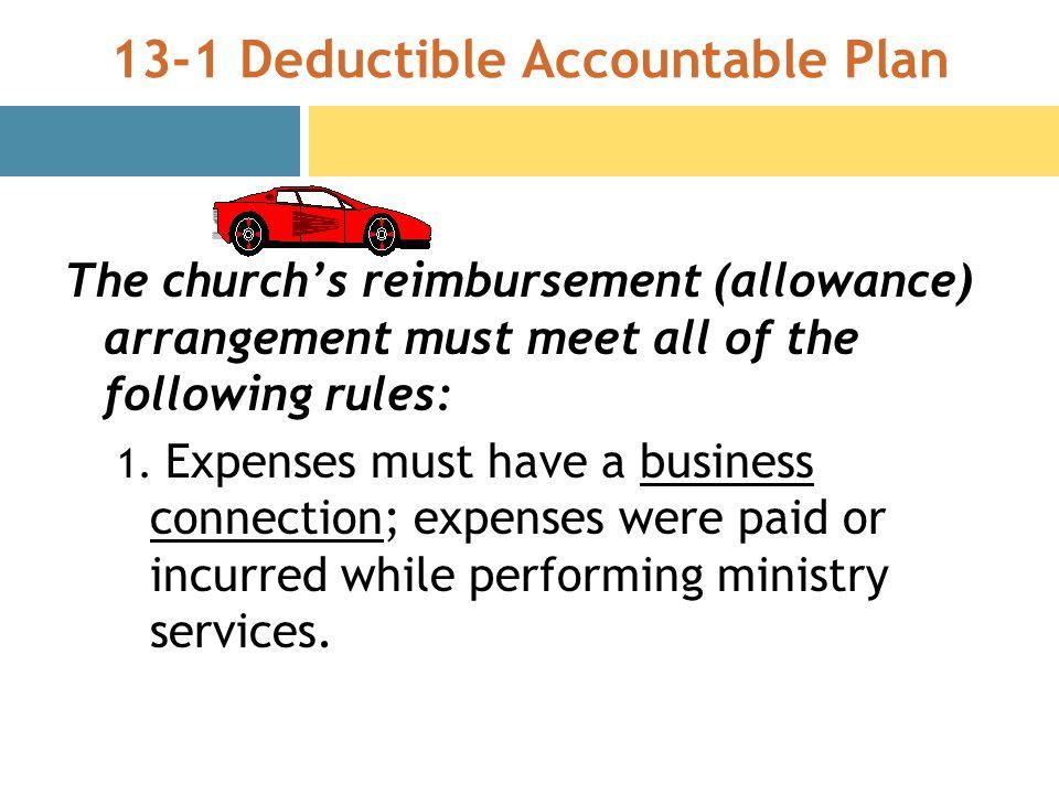 13-1 Deductible Accountable Plan The churchs reimbursement (allowance) arrangement must meet all of the following rules: 1.