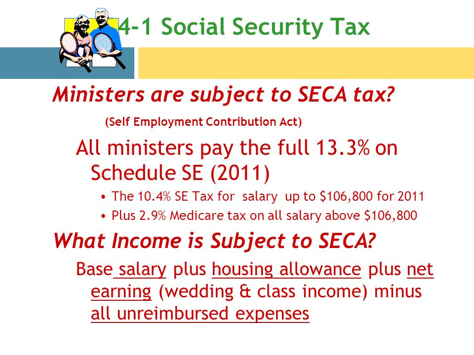 14-1 Social Security Tax Ministers are subject to SECA tax.