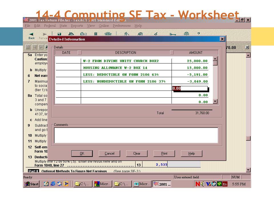 14-4 Computing SE Tax - Worksheet