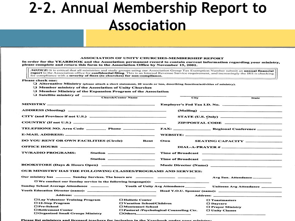 2-2. Annual Membership Report to Association