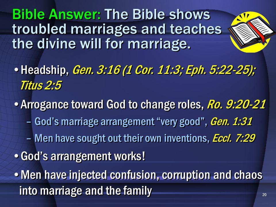 20 Headship, Gen. 3:16 (1 Cor. 11:3; Eph. 5:22-25); Titus 2:5 Arrogance toward God to change roles, Ro. 9:20-21 –Gods marriage arrangement very good,