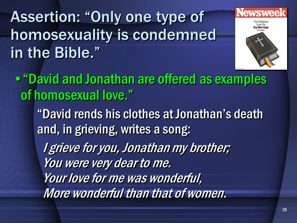 28 Assertion: Only one type of homosexuality is condemned in the Bible.
