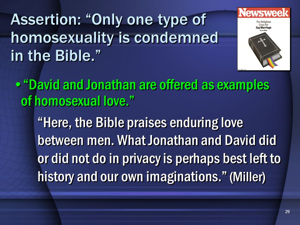 29 Assertion: Only one type of homosexuality is condemned in the Bible.