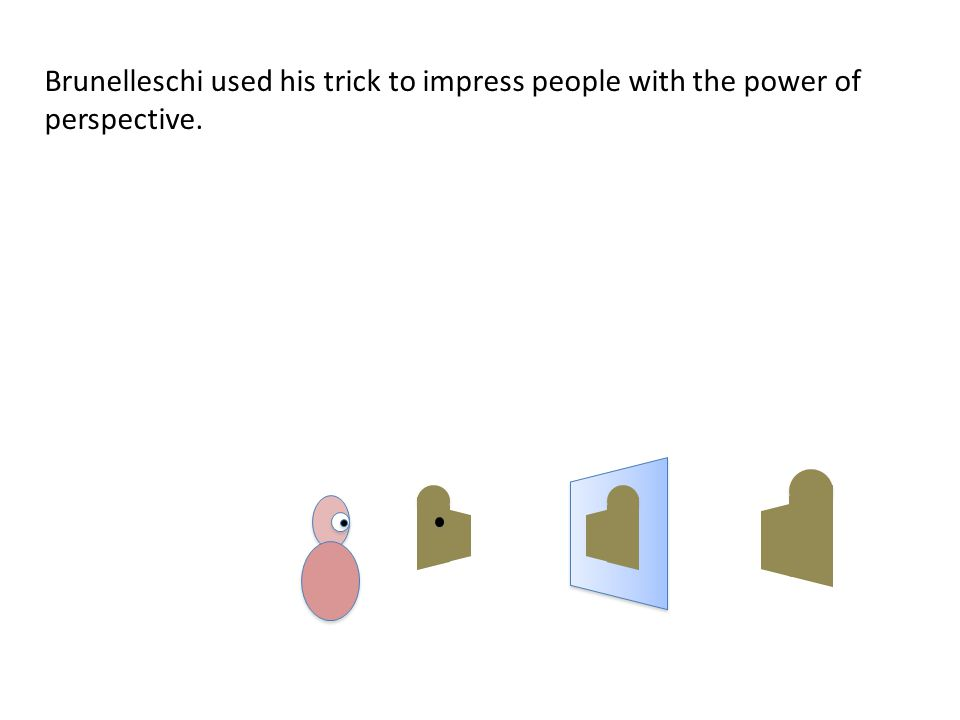 Brunelleschi used his trick to impress people with the power of perspective.