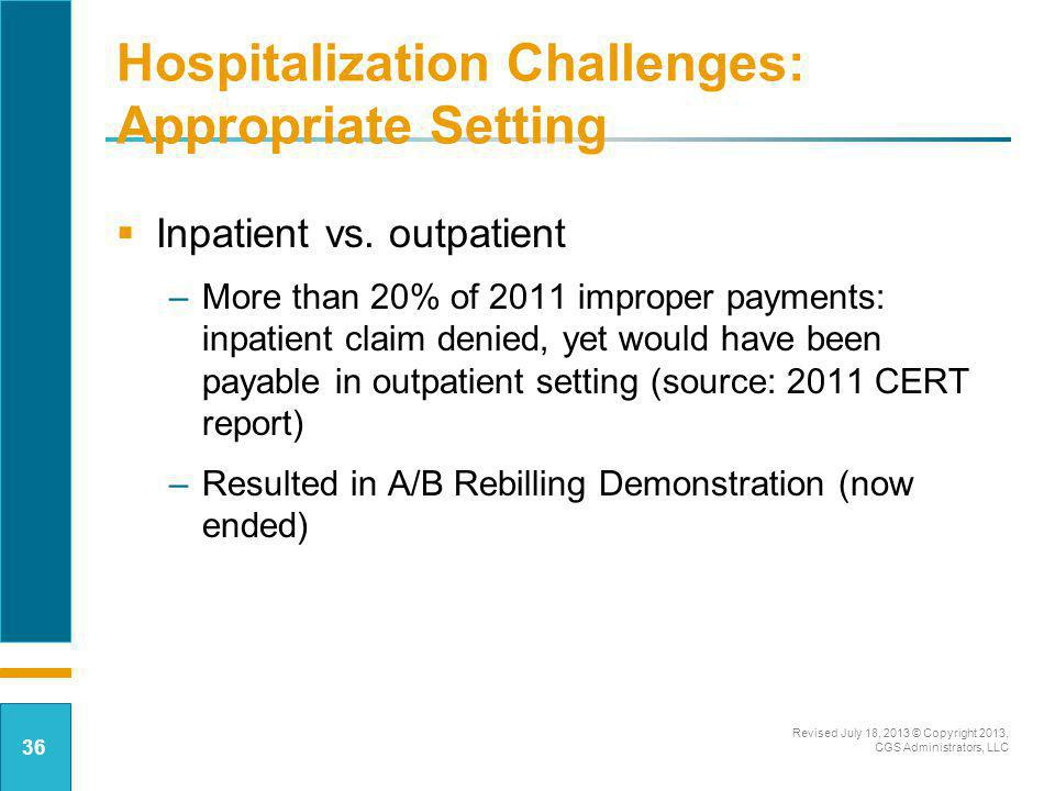 Hospitalization Challenges: Appropriate Setting Inpatient vs. outpatient –More than 20% of 2011 improper payments: inpatient claim denied, yet would h