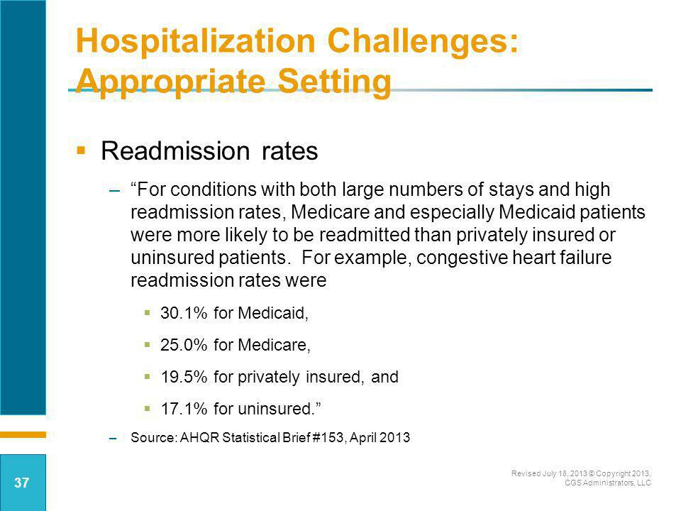 Hospitalization Challenges: Appropriate Setting Readmission rates –For conditions with both large numbers of stays and high readmission rates, Medicar