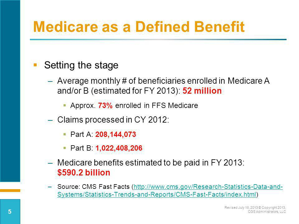 Medicare as a Defined Benefit Setting the stage –Average monthly # of beneficiaries enrolled in Medicare A and/or B (estimated for FY 2013): 52 millio