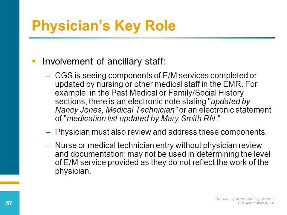 Involvement of ancillary staff: –CGS is seeing components of E/M services completed or updated by nursing or other medical staff in the EMR. For examp