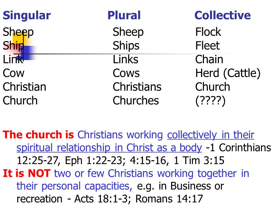 Singular Plural Collective The church is Christians working collectively in their spiritual relationship in Christ as a body -1 Corinthians 12:25-27, Eph 1:22-23; 4:15-16, 1 Tim 3:15 It is NOT two or few Christians working together in their personal capacities, e.g.