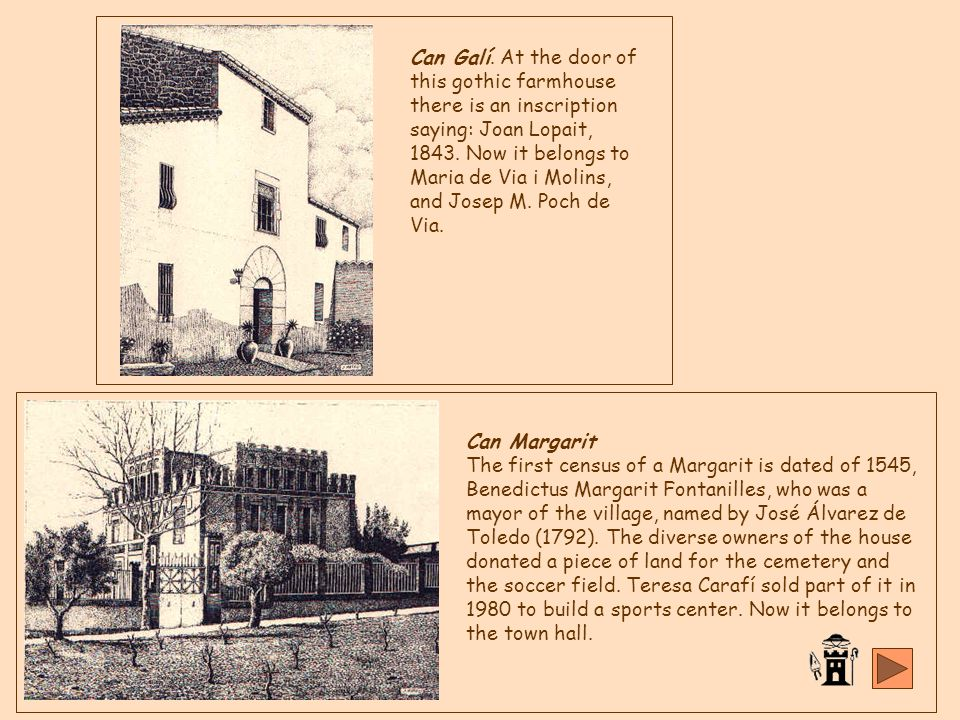 Can Margarit del Pont is a property that nowadays does not even exist, placed in the hill Tower Fossada , where nowadays situa Costa Blanca.