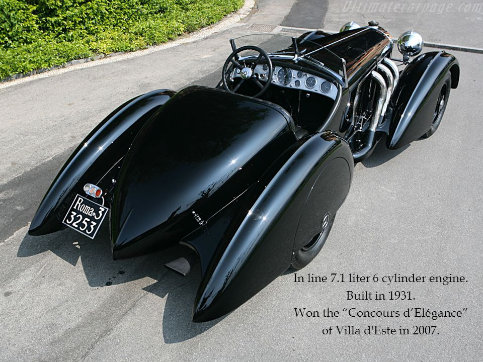 In line 7.1 liter 6 cylinder engine. Built in 1931. Won the Concours dElégance of Villa d'Este in 2007.