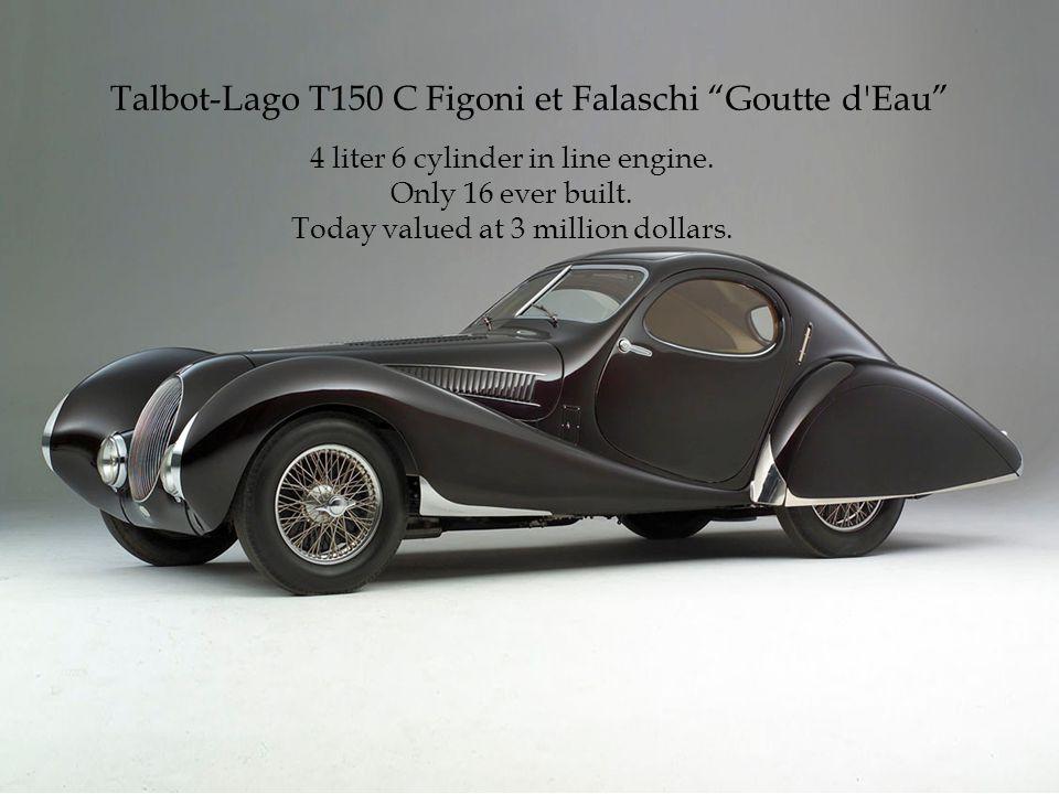 Talbot-Lago T150 C Figoni et Falaschi Goutte d Eau 4 liter 6 cylinder in line engine.