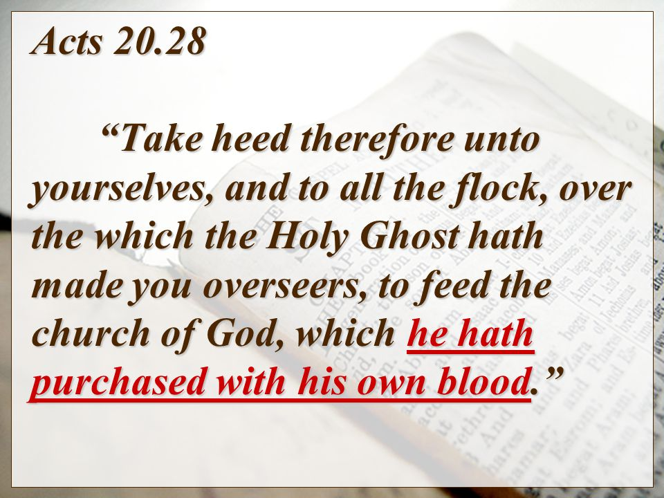 Acts Take heed therefore unto yourselves, and to all the flock, over the which the Holy Ghost hath made you overseers, to feed the church of God, which he hath purchased with his own blood.