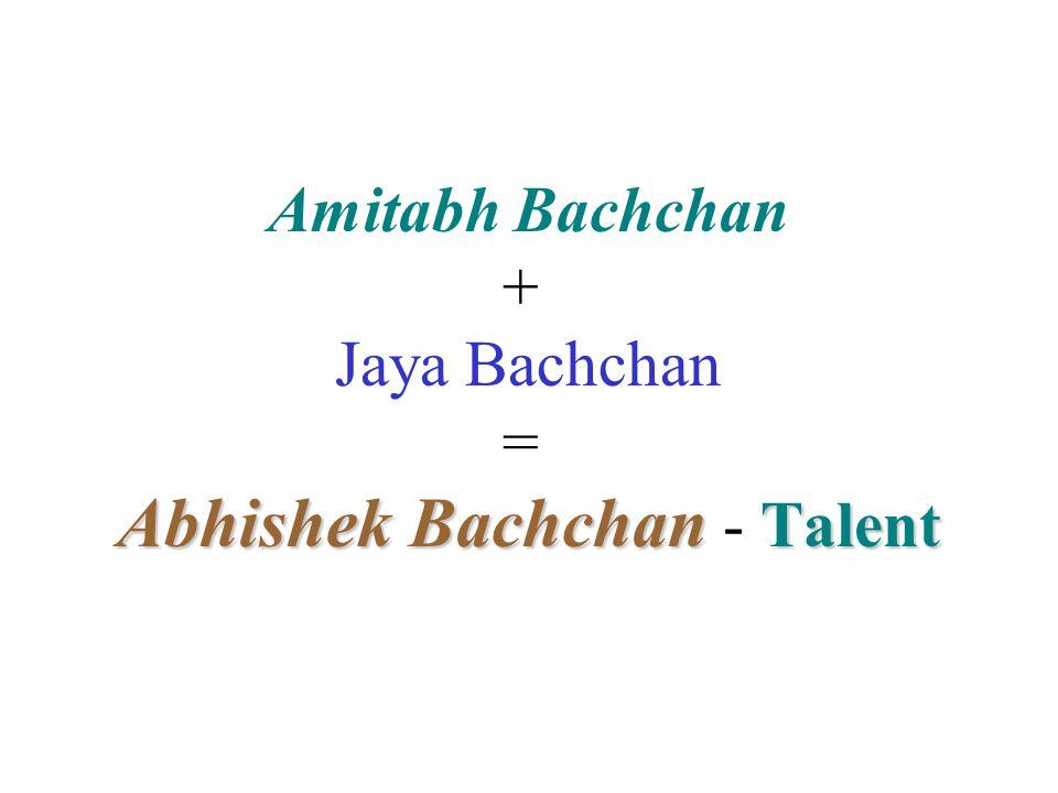 Amitabh Bachchan + Jaya Bachchan = Abhishek Bachchan Bachchan - Talent