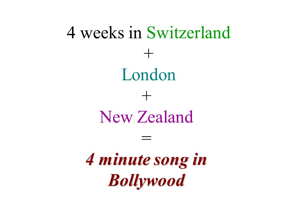 4 weeks in Switzerland + London + New Zealand = 4 minute song in Bollywood
