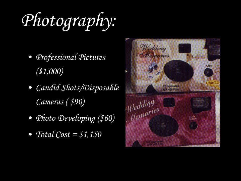 Photography: Professional Pictures ($1,000) Candid Shots/Disposable Cameras ( $90) Photo Developing ($60) Total Cost = $1,150
