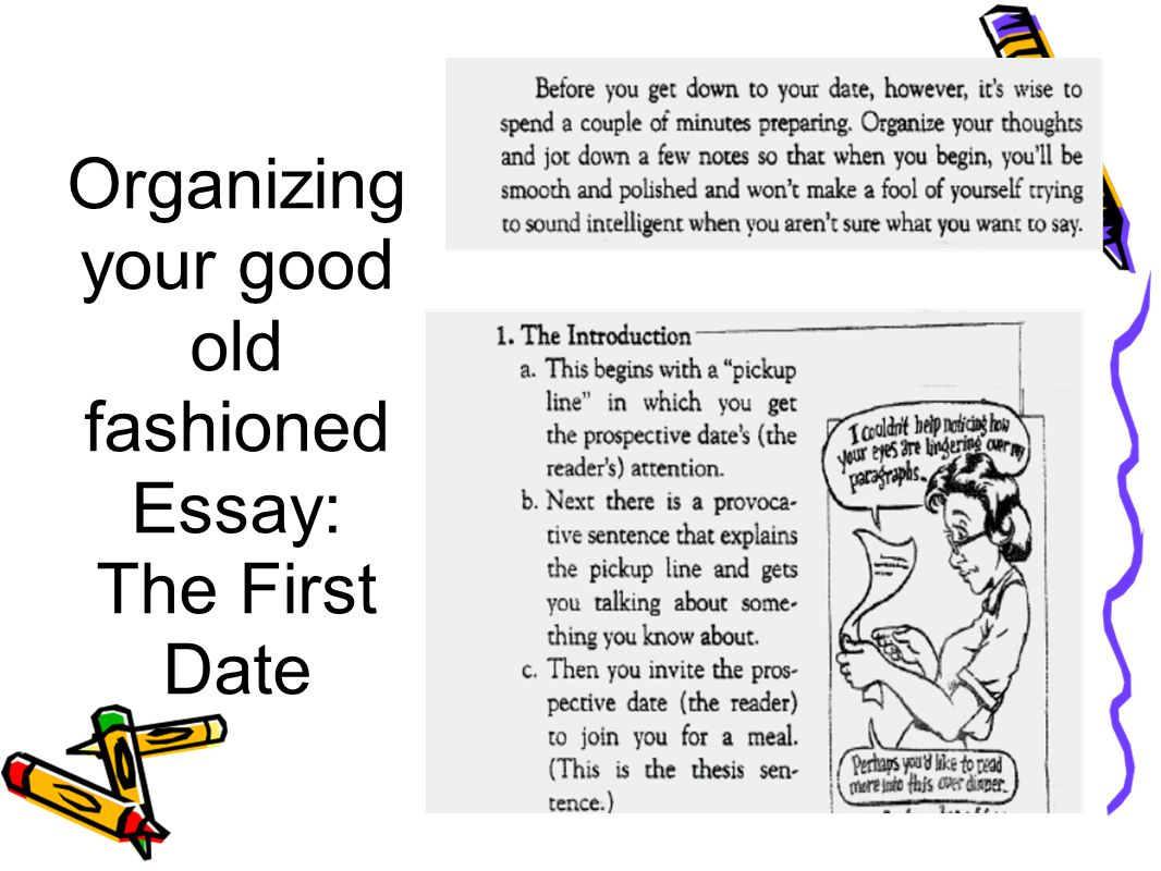 Organizing your good old fashioned Essay: The First Date