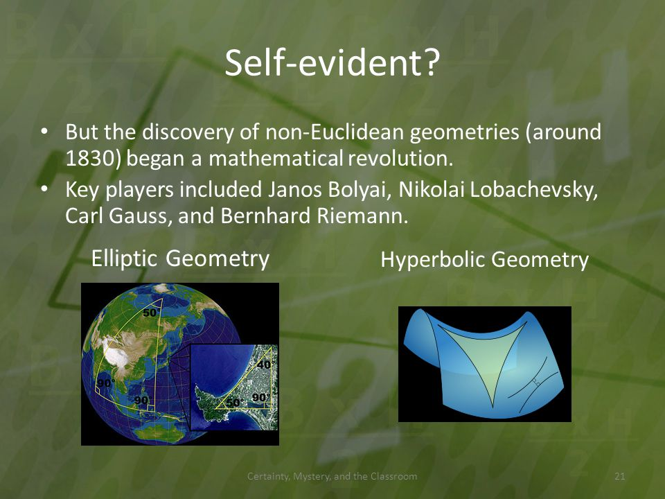 Self-evident? Certainty, Mystery, and the Classroom But the discovery of non-Euclidean geometries (around 1830) began a mathematical revolution. Key p